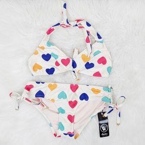 WILDFOX | Retro Heart Print Bikini Set